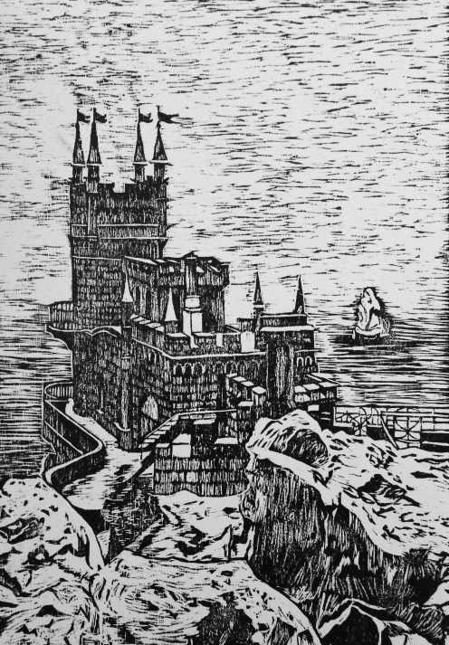 Swallow's Nest Woodcut